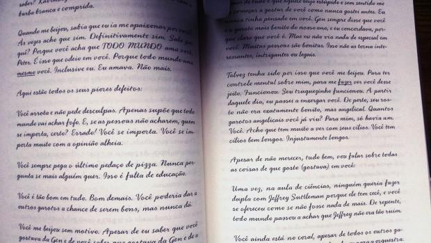 Uma das cartas da Lara Jean